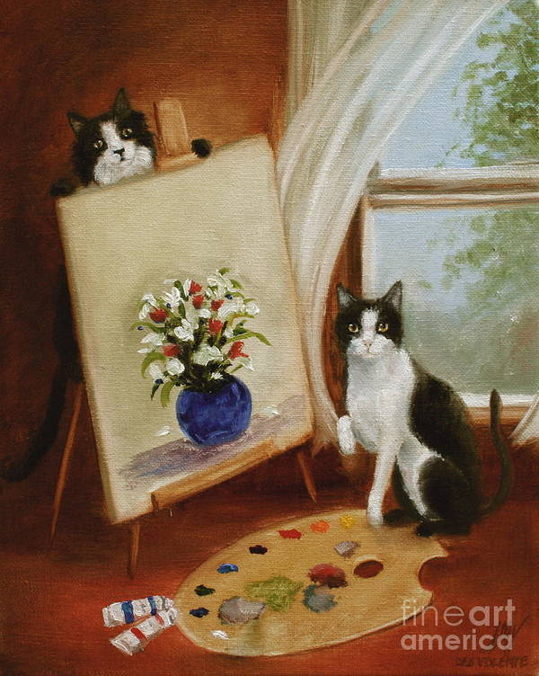 Cat Art Print featuring the painting Graham's Cats The Artists by Stella Violano