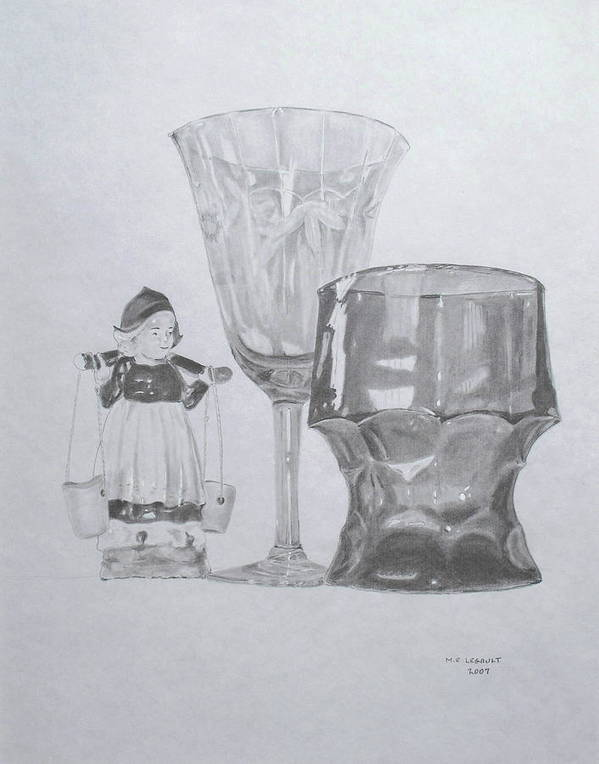 Glassware Art Print featuring the drawing Grammas Glasses by Mary Ellen Mueller Legault
