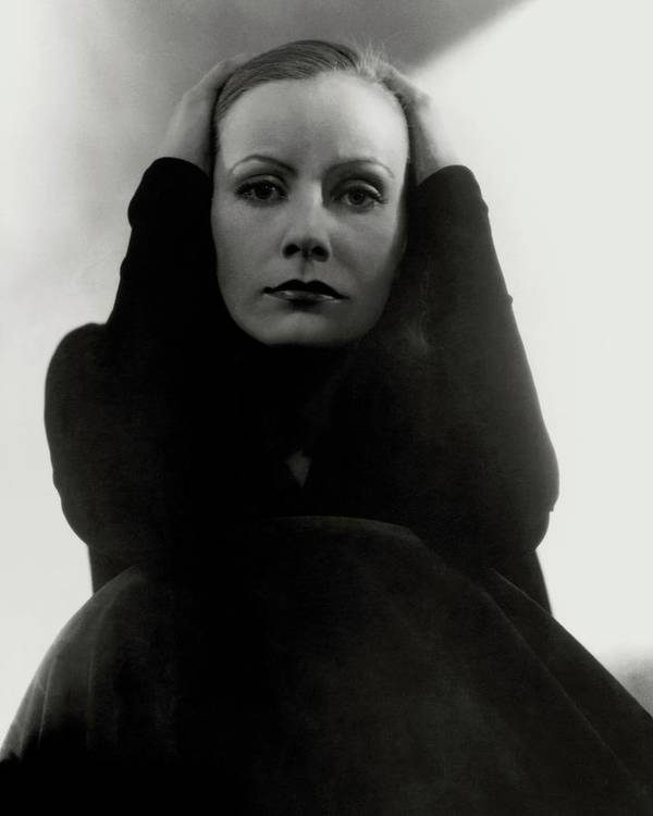 Actress Art Print featuring the photograph Greta Garbo Wearing A Black Dress by Edward Steichen