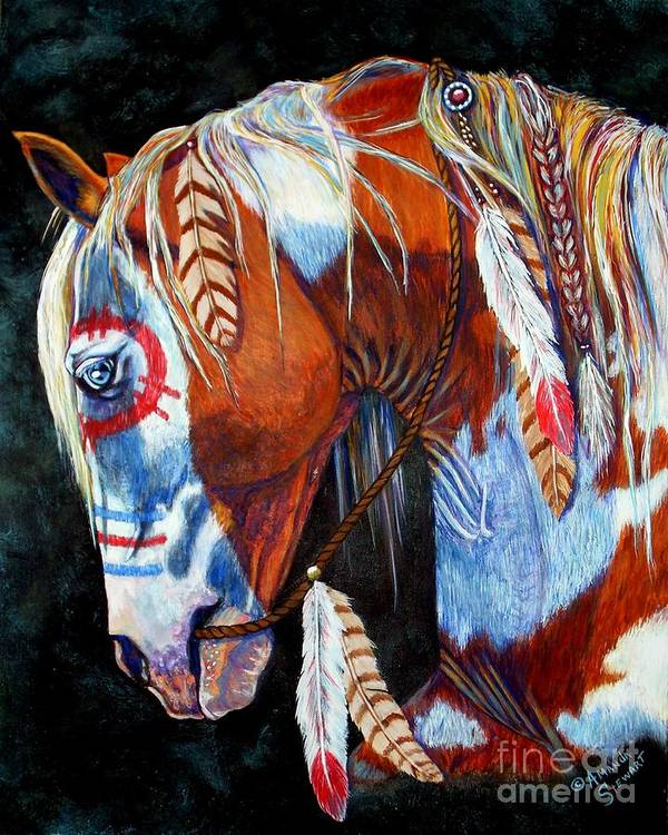 Indian Art Print featuring the painting Indian War Pony by Amanda Hukill