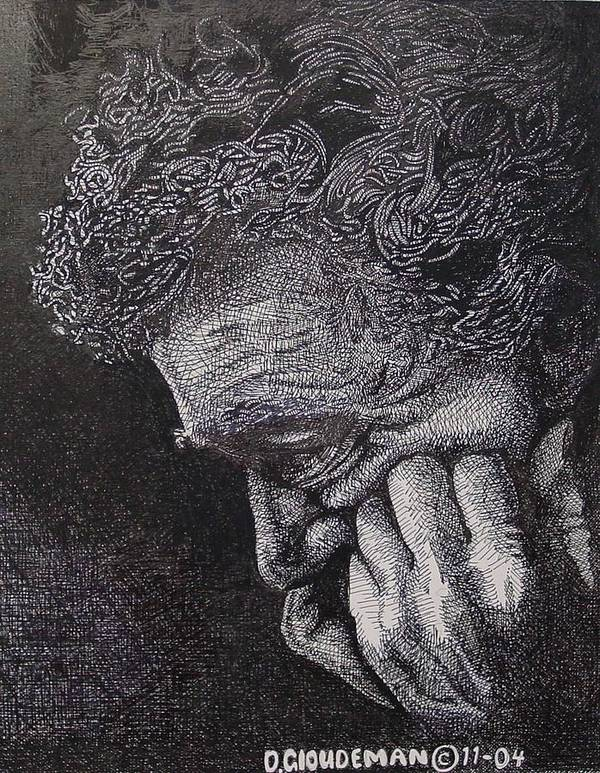 Portraiture Art Print featuring the drawing Introspection by Denis Gloudeman