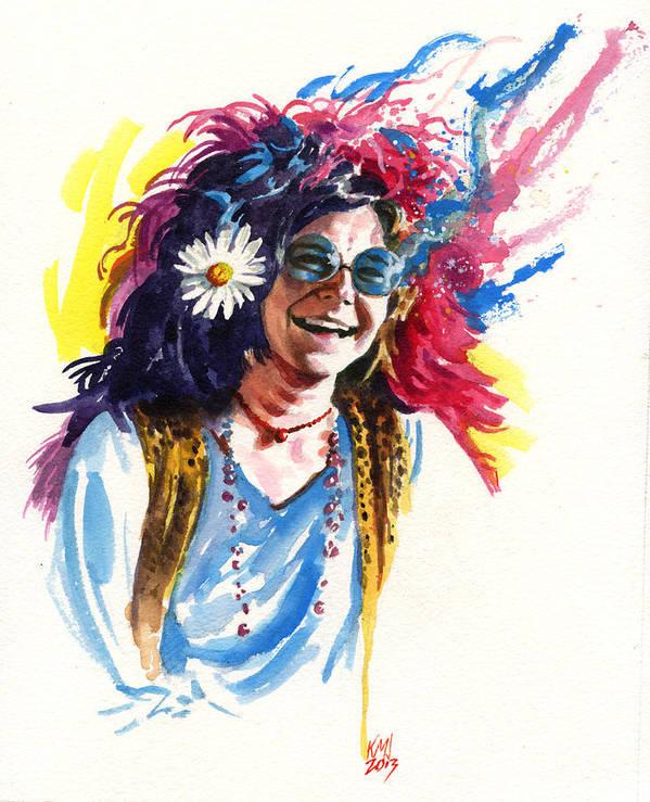 Janis Joplin Art Print featuring the painting Janis by Ken Meyer jr
