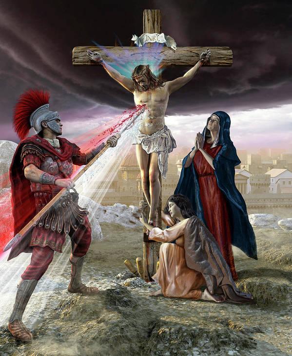Vertical Art Print featuring the photograph Jesus On The Cross, Roman Piercing by Kurt Miller