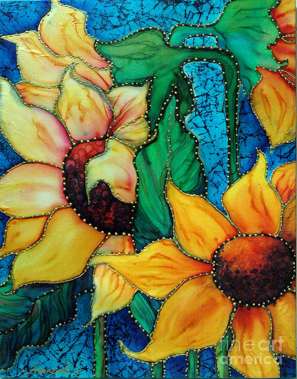 Silk Painting Art Print featuring the painting Jeweled Sassy Sunflowers by Francine Dufour Jones