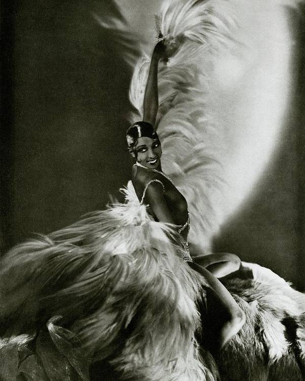 Dance Art Print featuring the photograph Josephine Baker Wearing A Feathered Cape by George Hoyningen-Huene