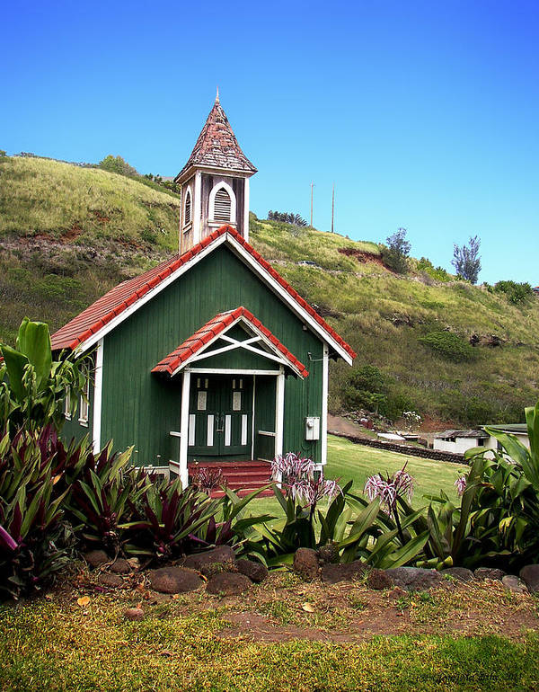 Kahakuloa Art Print featuring the photograph Kahakuloa Church - Maui by Glenn McCarthy Art and Photography