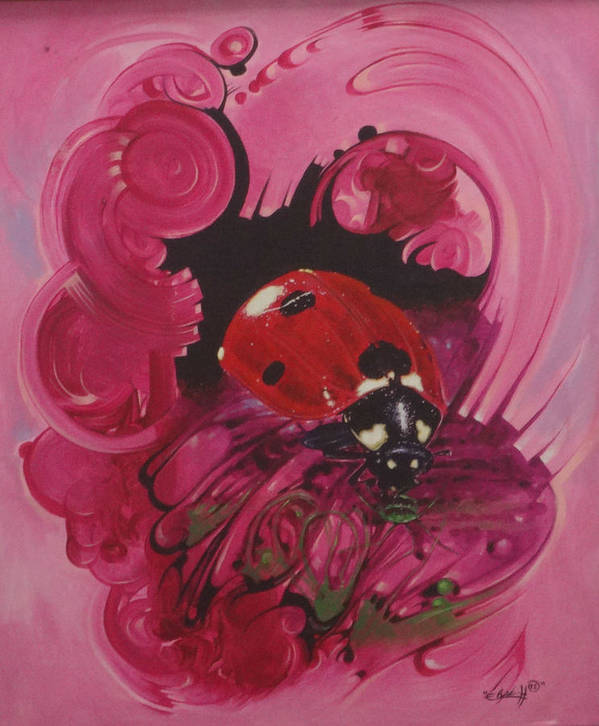 Nature Art Print featuring the painting Lady Bug by Assaph