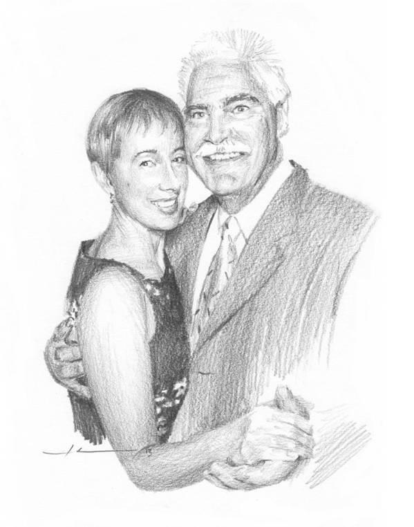 <a Href=http://miketheuer.com Target =_blank>www.miketheuer.com</a> Last Dance Couple Pencil Portrait Art Print featuring the painting Last Dance Couple Pencil Portrait by Mike Theuer