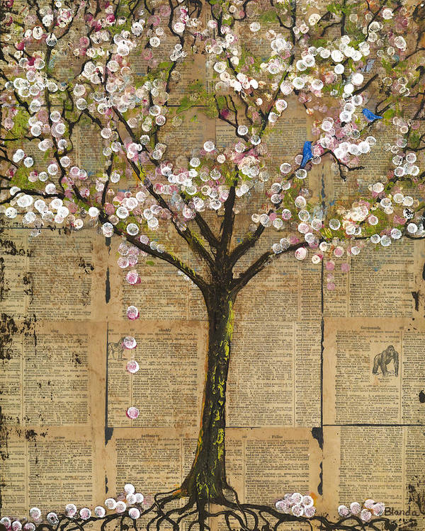 Tree Art Print featuring the painting Lexicon Tree of Knowledge by Blenda Studio