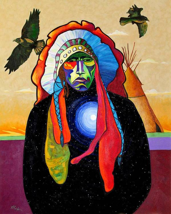 Native Art Print featuring the painting Looking Inward For Reality by Joe Triano
