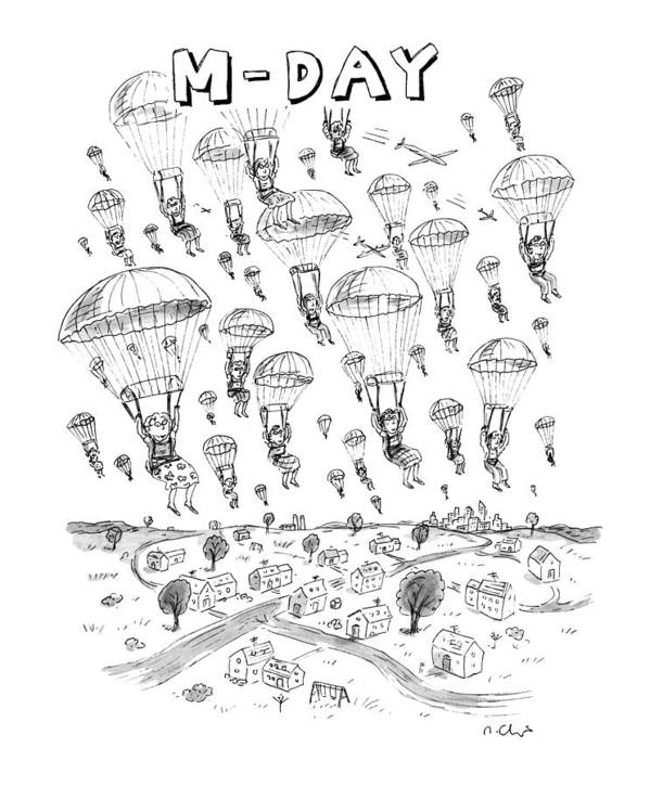 Parachutes Art Print featuring the drawing 'm-day' by Roz Chast