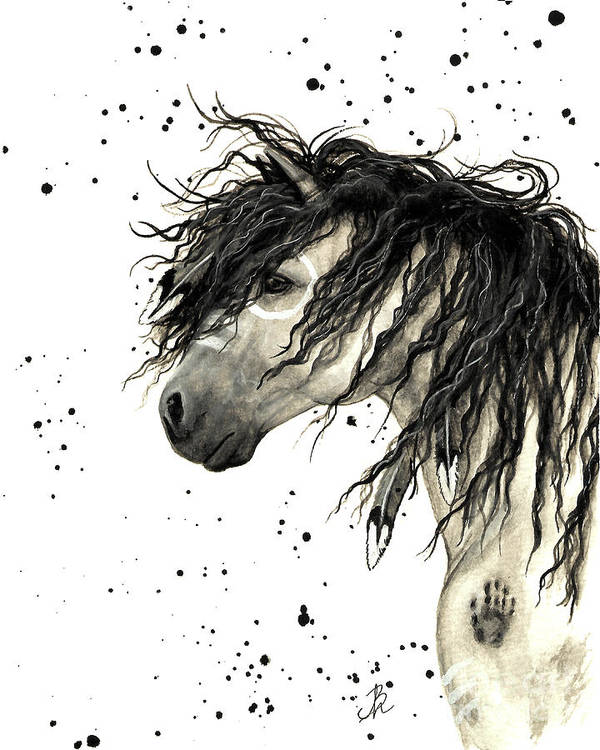 Mustang Horse Art Art Print featuring the painting Majestic Grey Spirit Horse #44 by AmyLyn Bihrle