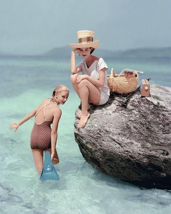 Fashion Art Print featuring the photograph Models At A Beach by Richard Rutledge