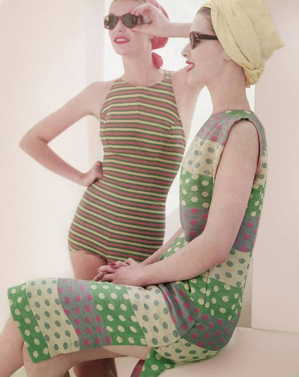 Studio Shot Art Print featuring the photograph Models Wearing Swimwear And Dress by Horst P. Horst