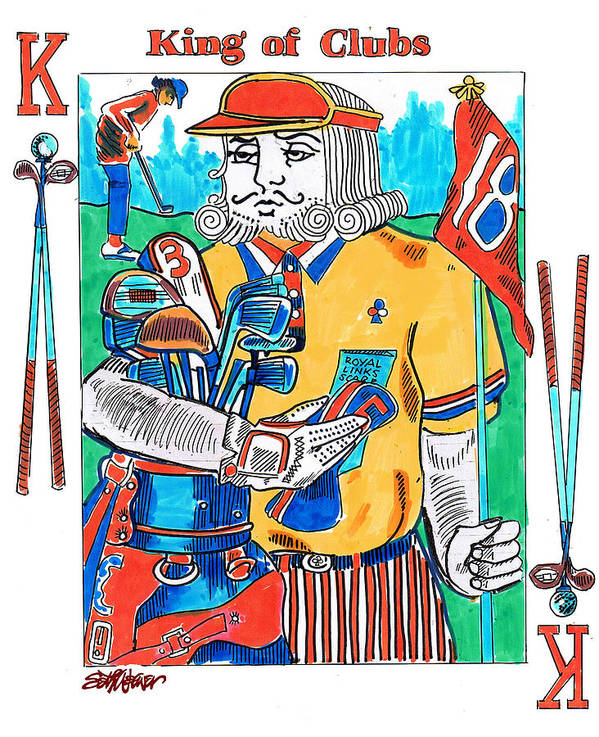 Modern King O'clubs Art Print featuring the drawing Modern King O' Clubs by Seth Weaver