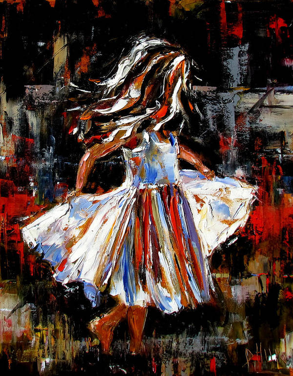 Child Art Print featuring the painting My Dress by Debra Hurd