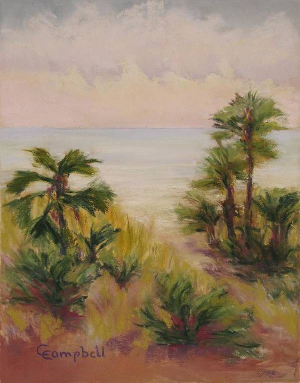Landscape Art Print featuring the painting Palmetto Sound by Cecelia Campbell