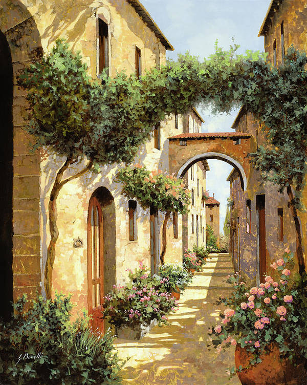 Landscape Art Print featuring the painting Passando Sotto L'arco by Guido Borelli