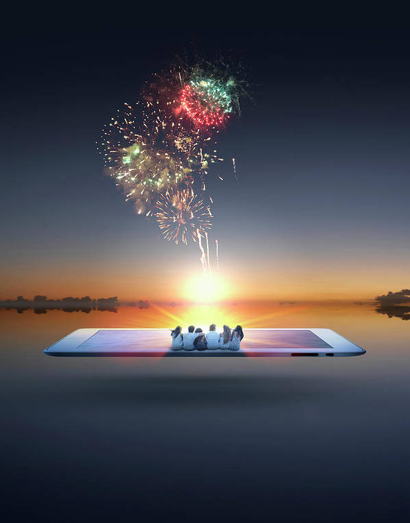 Internet Art Print featuring the photograph People Watching Fireworks Erupt From by Colin Anderson Productions Pty Ltd