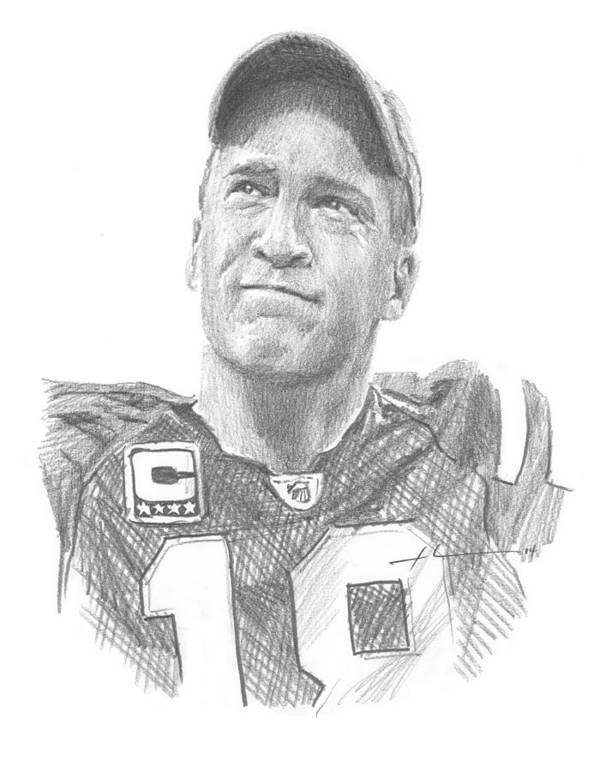 <a Href=http://miketheuer.com Target =_blank>www.miketheuer.com</a> Peyton Manning Colts Farewell Pencil Portrait Art Print featuring the painting Peyton Manning Colts Farewell Pencil Portrait by Mike Theuer