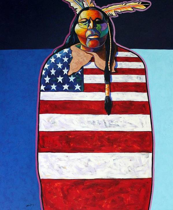 Native American Wrapped In Us Flag Art Print featuring the painting Poverty Still Cracks the Whip by Joe Triano