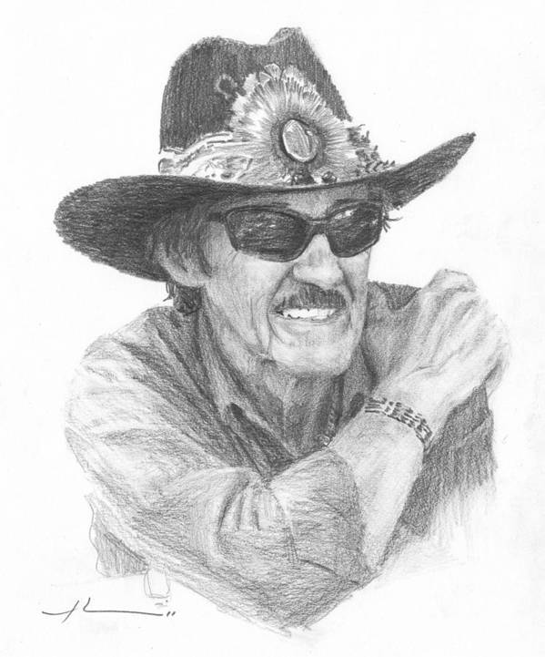 <a Href=http://miketheuer.com Target =_blank>www.miketheuer.com</a> Richard Petty Pencil Portrait Art Print featuring the drawing Richard Petty Pencil Portrait by Mike Theuer