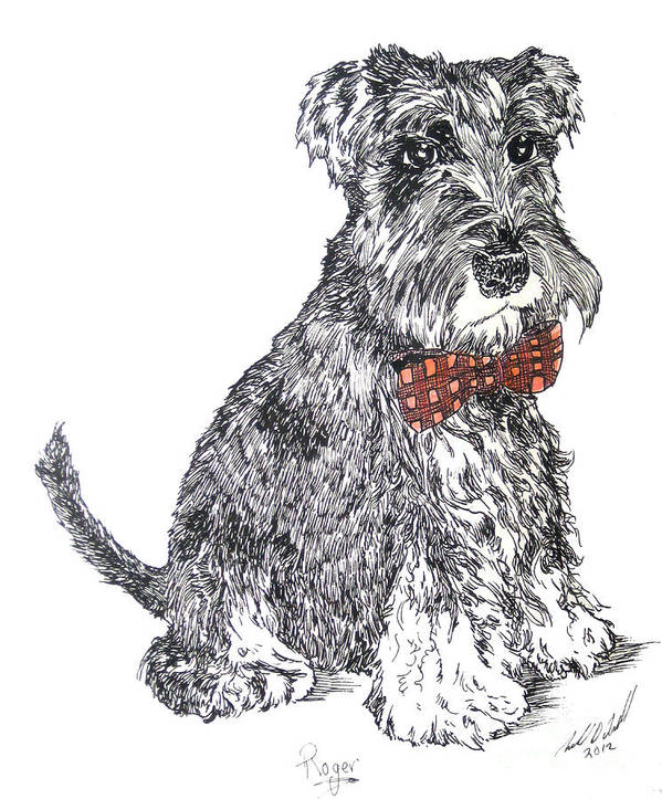 Schnauzer Art Print featuring the painting Roger by Michael D