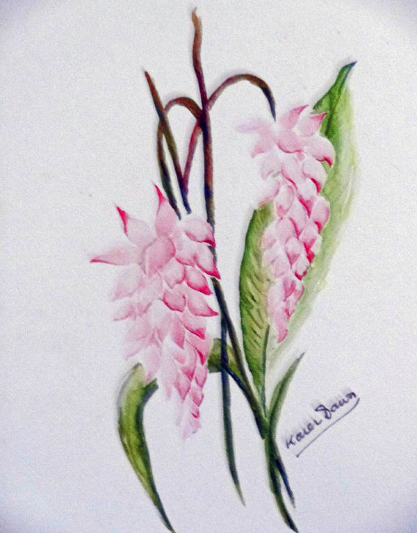Tropical Ginger Art Print featuring the painting Shell Ginger by Karin Dawn Kelshall- Best