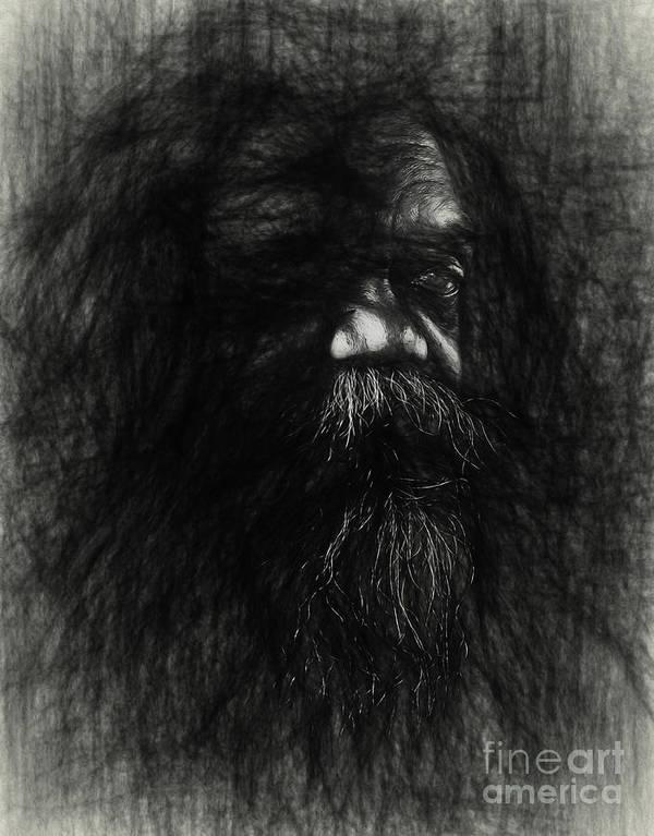 Australian Aborigine Art Print featuring the photograph Sketch of an aborigine by Sheila Smart Fine Art Photography