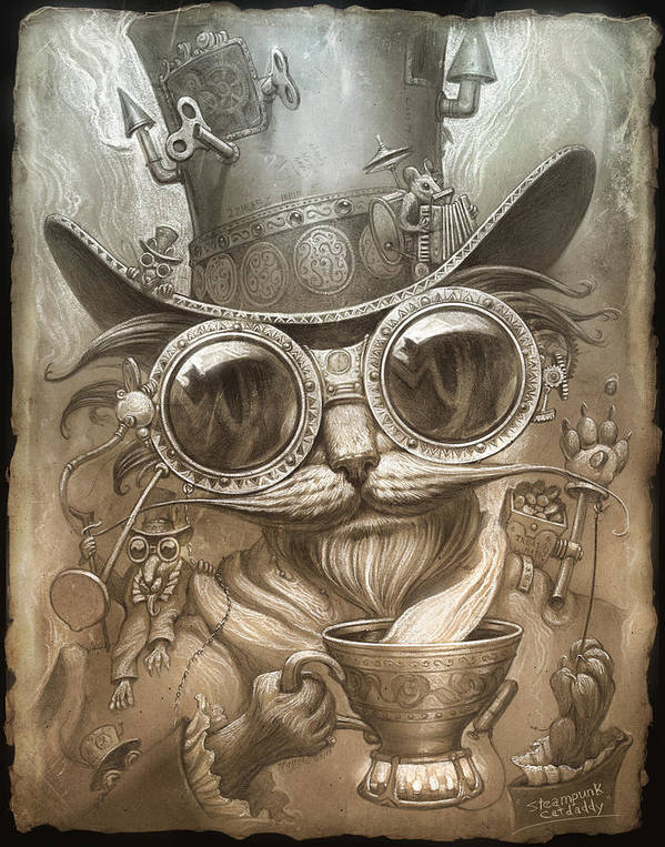 Steampunk Art Print featuring the painting Steampunk Cat by Jeff Haynie