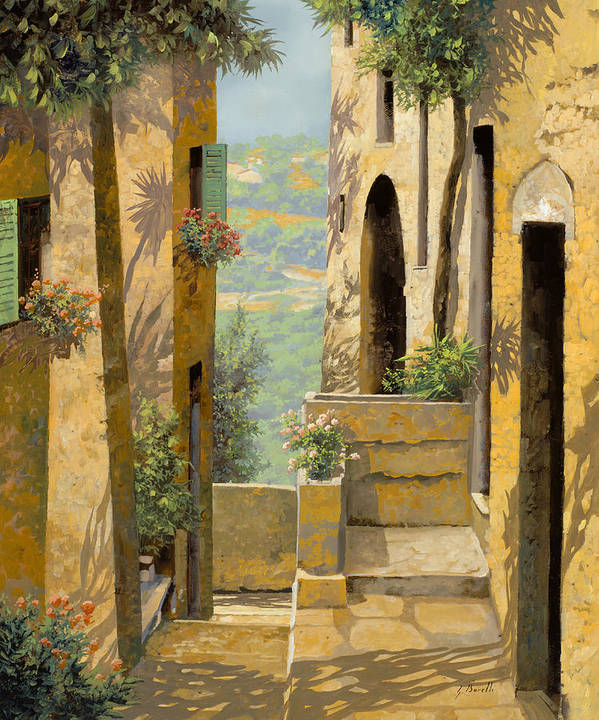 Landscape Art Print featuring the painting stradina a St Paul de Vence by Guido Borelli