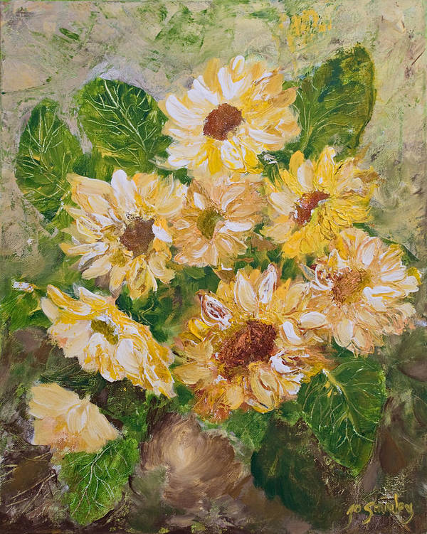 Sunflowers Art Print featuring the painting Sunflowers Forever by Jo Smoley