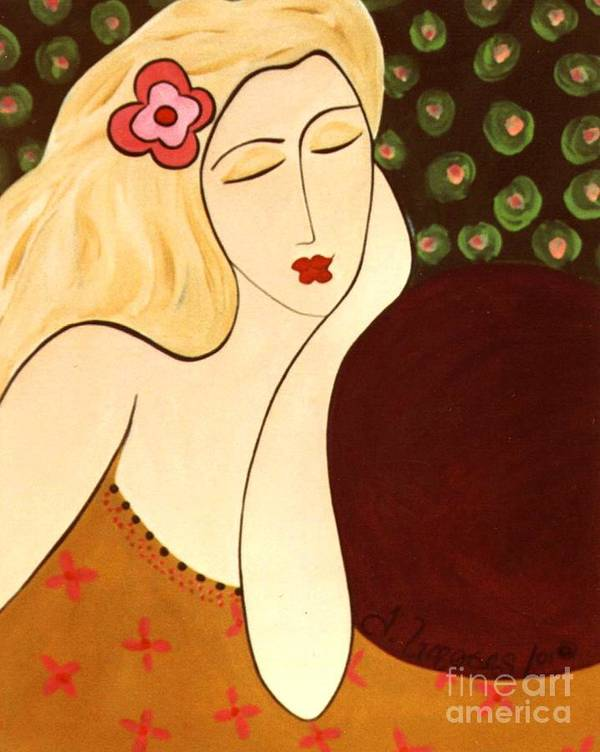#female #figurative #floral Art Print featuring the painting Sweet Sixteen by Jacquelinemari