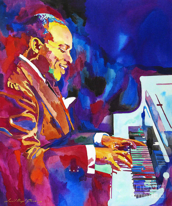 Count Basie Art Print featuring the painting Swinging with Count Basie by David Lloyd Glover