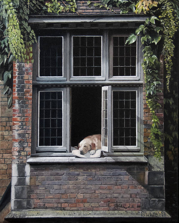 Dog Art Print featuring the painting The Dog of Bruges by Scot White