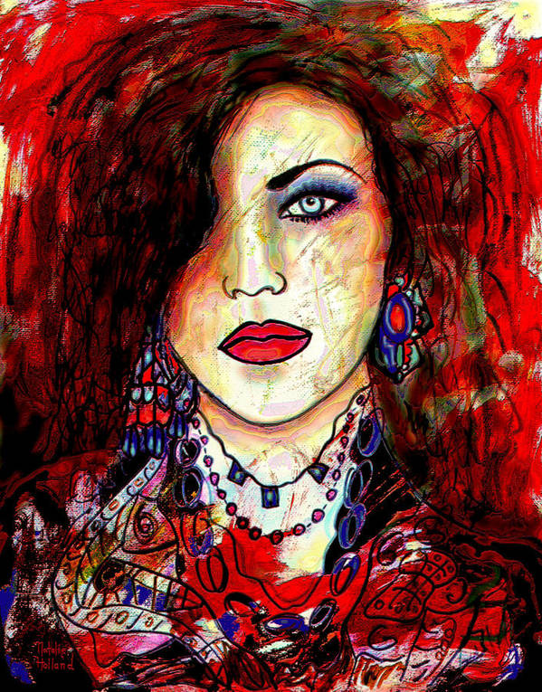 Portrait Art Print featuring the mixed media The Model by Natalie Holland