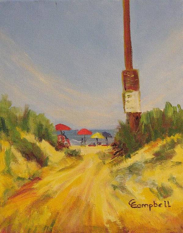 Beach Art Print featuring the painting Then there's the beach. by Cecelia Campbell
