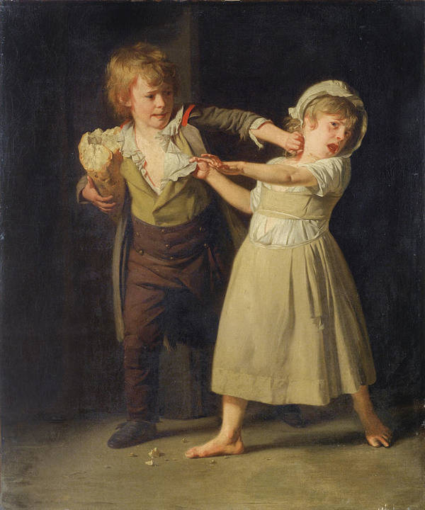 Henri-pierre Danloux Art Print featuring the painting Two Children fighting over a Piece of Bread by Henri-Pierre Danloux