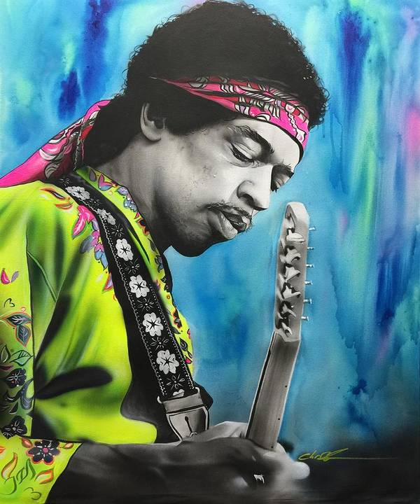 Jimi Hendrix Art Print featuring the painting Valleys of Saturn by Christian Chapman Art