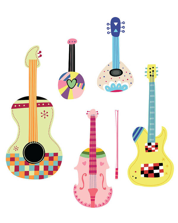 White Background Art Print featuring the digital art Various Kinds Of Stringed Instruments by Eastnine Inc.