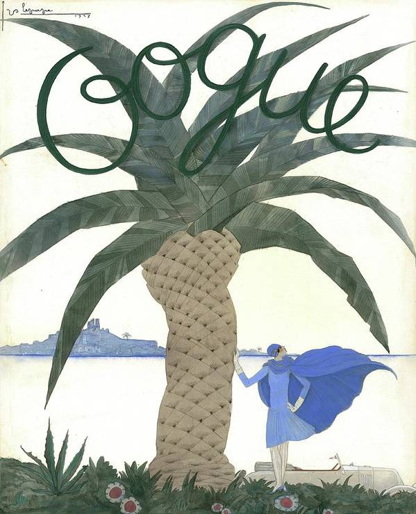 Fashion Art Print featuring the digital art Vogue Magazine Cover Featuring A Woman Standing by Georges Lepape