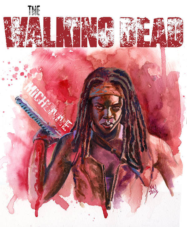 Walking Dead Art Print featuring the painting Walking Dead Michonne by Ken Meyer jr