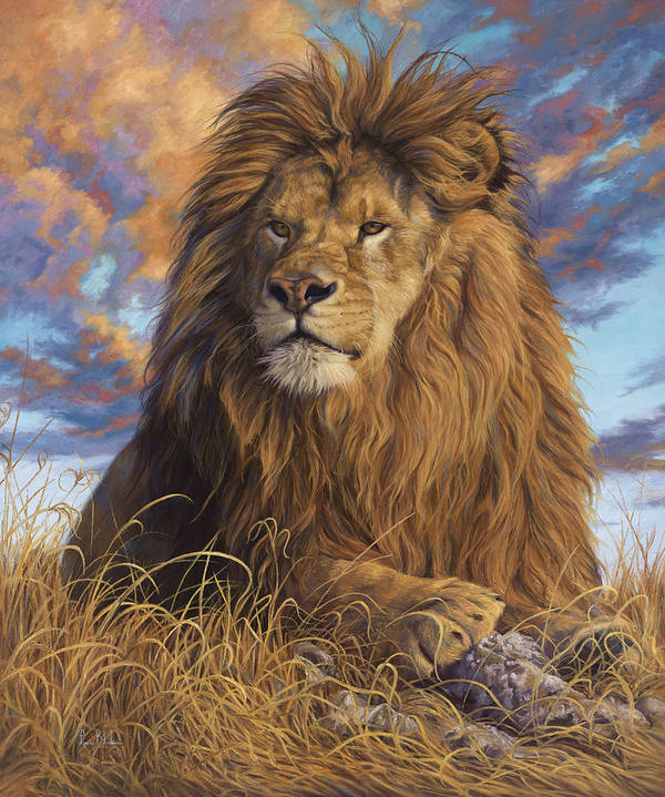Lion Art Print featuring the painting Watchful Eyes by Lucie Bilodeau