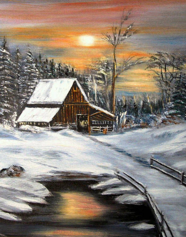 Landscape Art Print featuring the painting Winter Barn by Kenneth LePoidevin