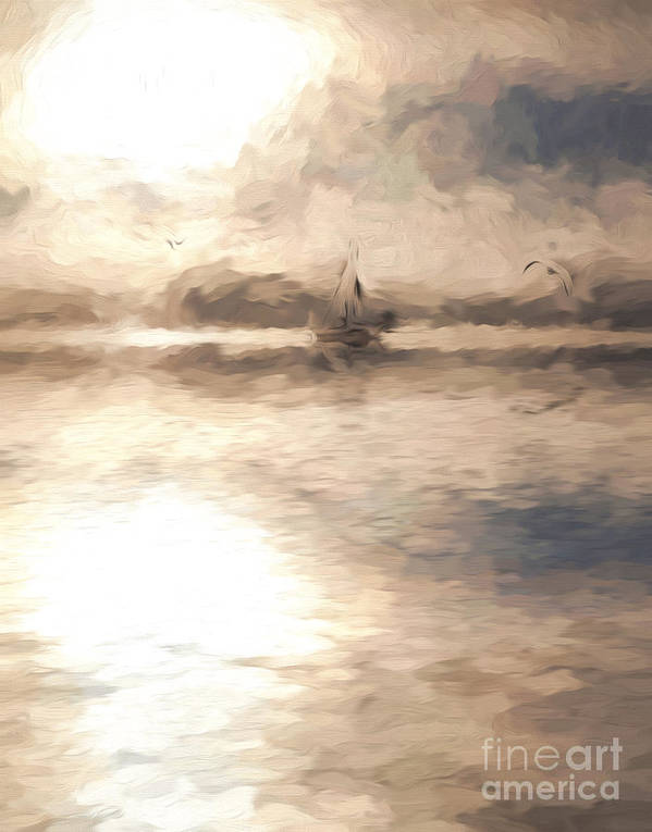 Yacht Art Print featuring the photograph Yacht in mist at Bay of Plenty by Sheila Smart Fine Art Photography