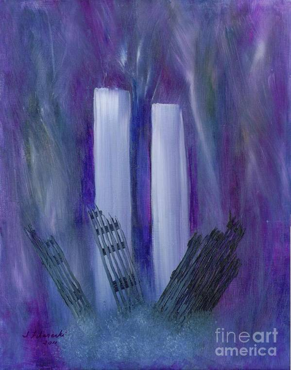 911 Art Print featuring the painting 9-11 Remembering by Judy Filarecki