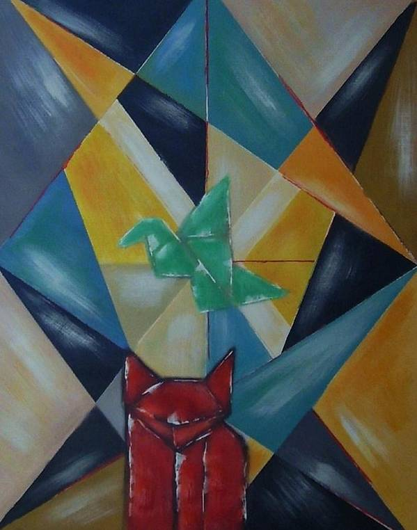 Abstract Art Print featuring the painting Cat and bird by Joseph Ferguson
