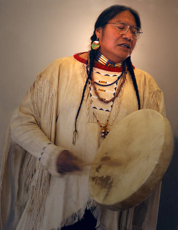 Drum Art Print featuring the photograph Cheyenne Native American Drummer by Nancy Griswold