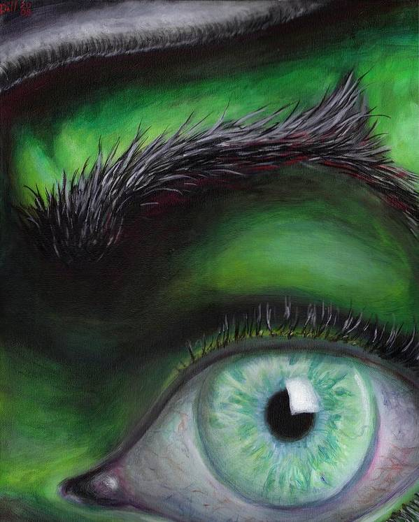 Green Eye Witch Wizard Oz Elphaba West Wicked Evil Eyebrow Art Print featuring the painting Eye of the Beholder by Rust Dill