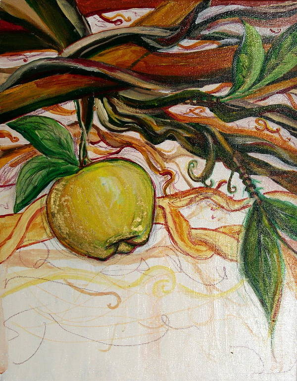 Apple Art Print featuring the painting Fifth World Five by Kate Fortin